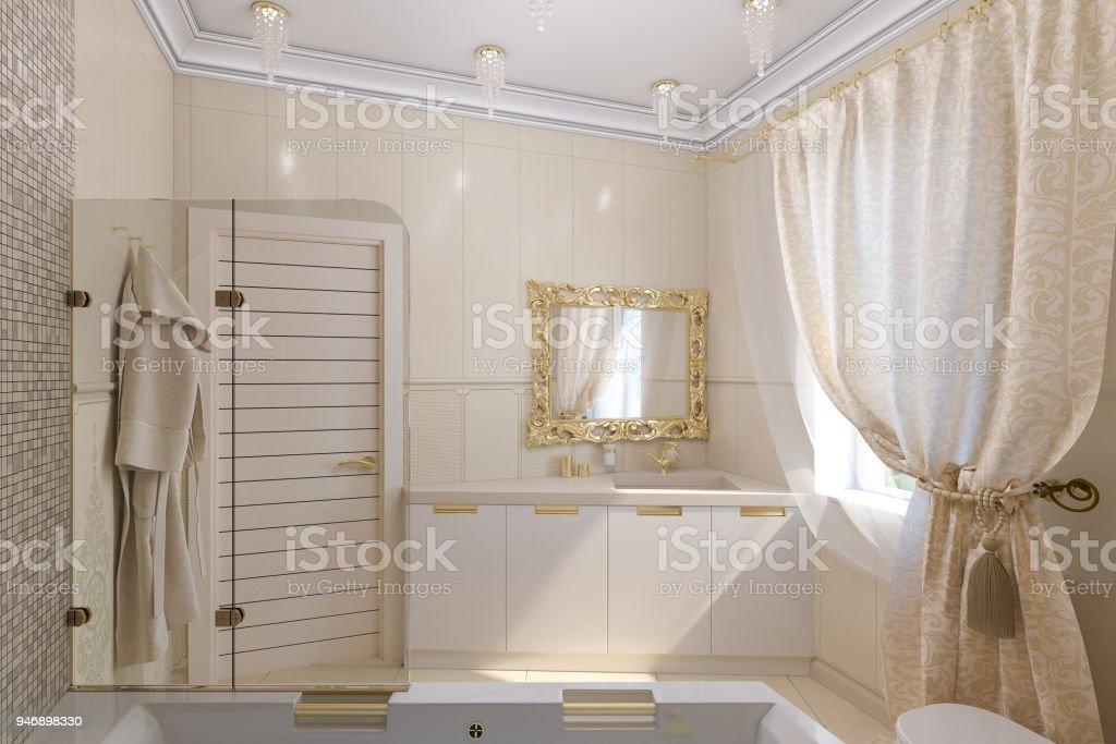 3d Render Luxus Badezimmer Interieur Design Im Klassischen ...