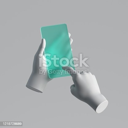 3d render, mannequin hands holding mint green glass smart phone, electronic device isolated on white background, minimal concept, simple clean design. Remote control. Futuristic gadget blank mockup