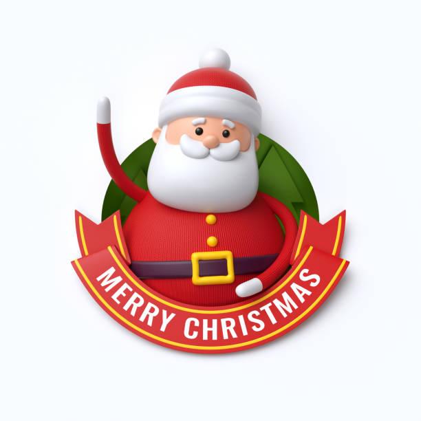 3 d レンダリング、かわいいサンタ クロース メリー クリスマス テキスト文字、赤いリボン、グリーティング カード、バナー、白い背景で隔離の漫画 - アイコン プレゼント ストックフォトと画像