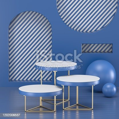 1128982640 istock photo 3d render. Minimal abstract background. Blank mockup, empty wall, fashion podium, vacant pedestal, cylinder steps, stage interior, showcase. Modern concept. Classic blue color of the year 2020 1202006537