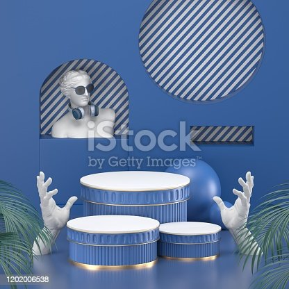 1128982640 istock photo 3d render. Minimal abstract background. Blank mockup, empty wall, fashion podium, vacant pedestal, cylinder steps, stage interior, showcase. Modern concept. Classic blue color of the year 2020 1202006538