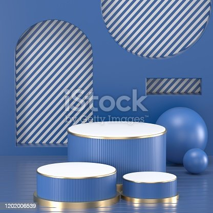 1128982640 istock photo 3d render. Minimal abstract background. Blank mockup, empty wall, fashion podium, vacant pedestal, cylinder steps, stage interior, showcase. Modern concept. Classic blue color of the year 2020 1202006539