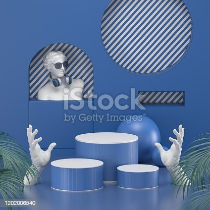 1128982640 istock photo 3d render. Minimal abstract background. Blank mockup, empty wall, fashion podium, vacant pedestal, cylinder steps, stage interior, showcase. Modern concept. Classic blue color of the year 2020 1202006540