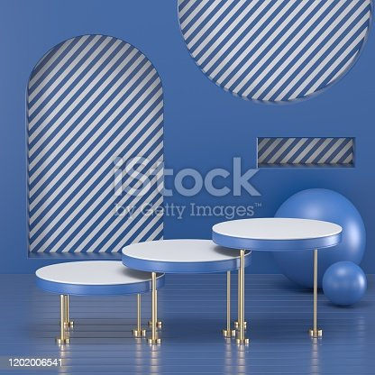 1128982640 istock photo 3d render. Minimal abstract background. Blank mockup, empty wall, fashion podium, vacant pedestal, cylinder steps, stage interior, showcase. Modern concept. Classic blue color of the year 2020 1202006541