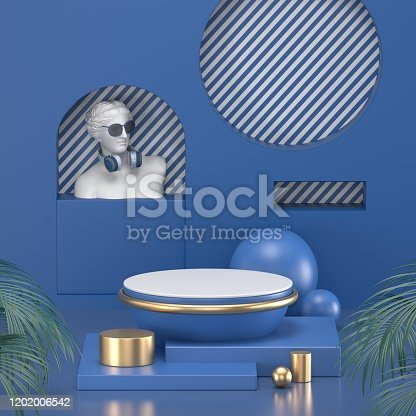 1128982640 istock photo 3d render. Minimal abstract background. Blank mockup, empty wall, fashion podium, vacant pedestal, cylinder steps, stage interior, showcase. Modern concept. Classic blue color of the year 2020 1202006542
