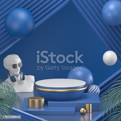 1128982640 istock photo 3d render. Minimal abstract background. Blank mockup, empty wall, fashion podium, vacant pedestal, cylinder steps, stage interior, showcase. Modern concept. Classic blue color of the year 2020 1202006543