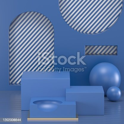 1128982640 istock photo 3d render. Minimal abstract background. Blank mockup, empty wall, fashion podium, vacant pedestal, cylinder steps, stage interior, showcase. Modern concept. Classic blue color of the year 2020 1202006544