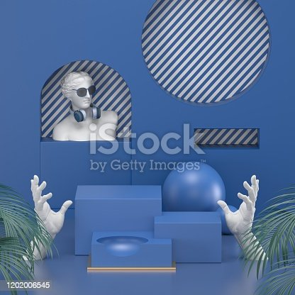 1128982640 istock photo 3d render. Minimal abstract background. Blank mockup, empty wall, fashion podium, vacant pedestal, cylinder steps, stage interior, showcase. Modern concept. Classic blue color of the year 2020 1202006545