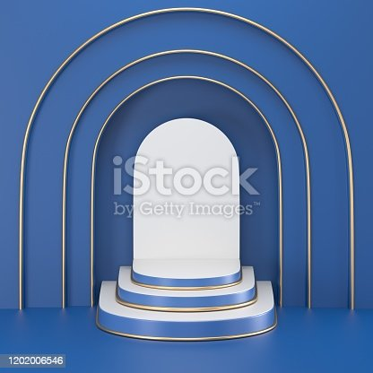 1128982640 istock photo 3d render. Minimal abstract background. Blank mockup, empty wall, fashion podium, vacant pedestal, cylinder steps, stage interior, showcase. Modern concept. Classic blue color of the year 2020 1202006546