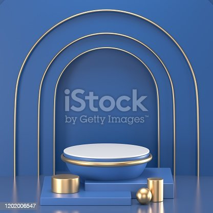 1128982640 istock photo 3d render. Minimal abstract background. Blank mockup, empty wall, fashion podium, vacant pedestal, cylinder steps, stage interior, showcase. Modern concept. Classic blue color of the year 2020 1202006547