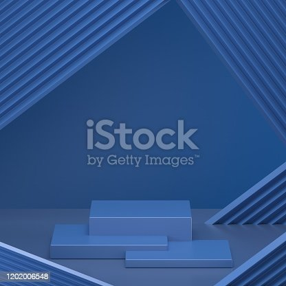 1128982640 istock photo 3d render. Minimal abstract background. Blank mockup, empty wall, fashion podium, vacant pedestal, cylinder steps, stage interior, showcase. Modern concept. Classic blue color of the year 2020 1202006548