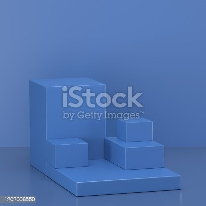 1128982640 istock photo 3d render. Minimal abstract background. Blank mockup, empty wall, fashion podium, vacant pedestal, cylinder steps, stage interior, showcase. Modern concept. Classic blue color of the year 2020 1202006550