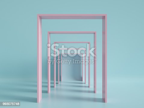 993080194 istock photo 3d render, minimal fashion background, arch, tunnel, corridor, portal, perspective, pink mint pastel colors 993075748