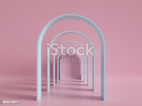 istock 3d render, minimal fashion background, arch, tunnel, corridor, portal, perspective, pink mint pastel colors 993079974