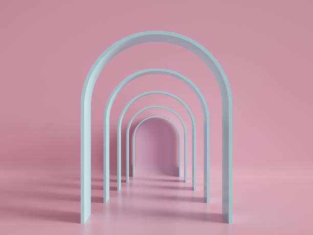 rendu 3d, mode minimal, arch, tunnel, corridor, portail, perspective, couleurs pastel rose menthe - art moderne photos et images de collection