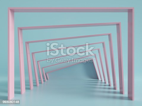 993080194 istock photo 3d render, minimal fashion background, arch, tunnel, corridor, portal, perspective, pink mint pastel colors 993080148