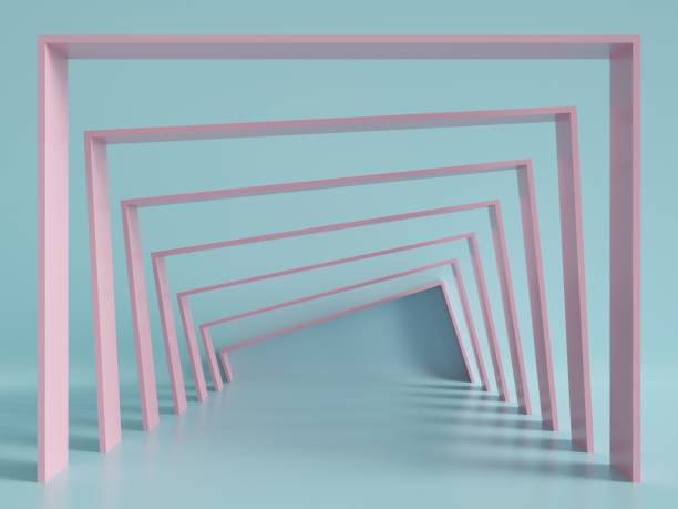 3d render, minimal fashion background, arch, tunnel, corridor, portal, perspective, pink mint pastel colors stock photo
