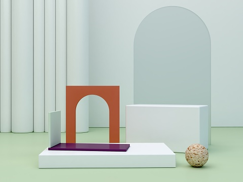 3d render. Minimal podium to show a product. Abstract cosmetic background.