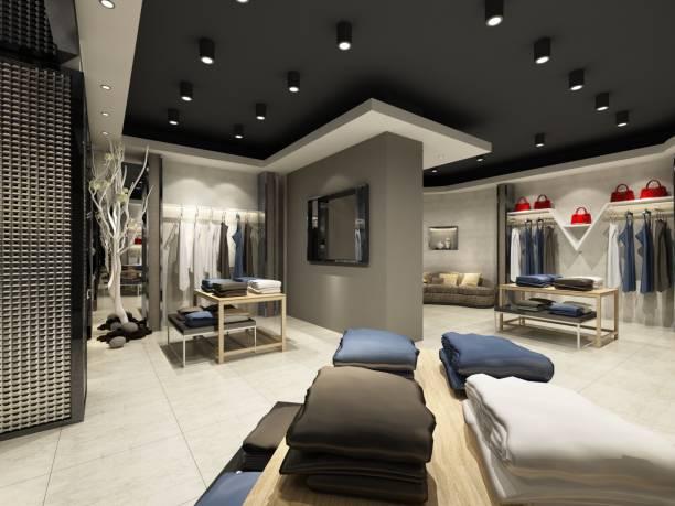 3d render moderne mode winkel - kledingwinkel stockfoto's en -beelden