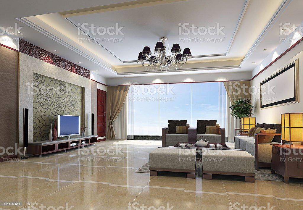 3 d 렌더링 현대적이다 내륙발 거실-객실 royalty-free 스톡 사진