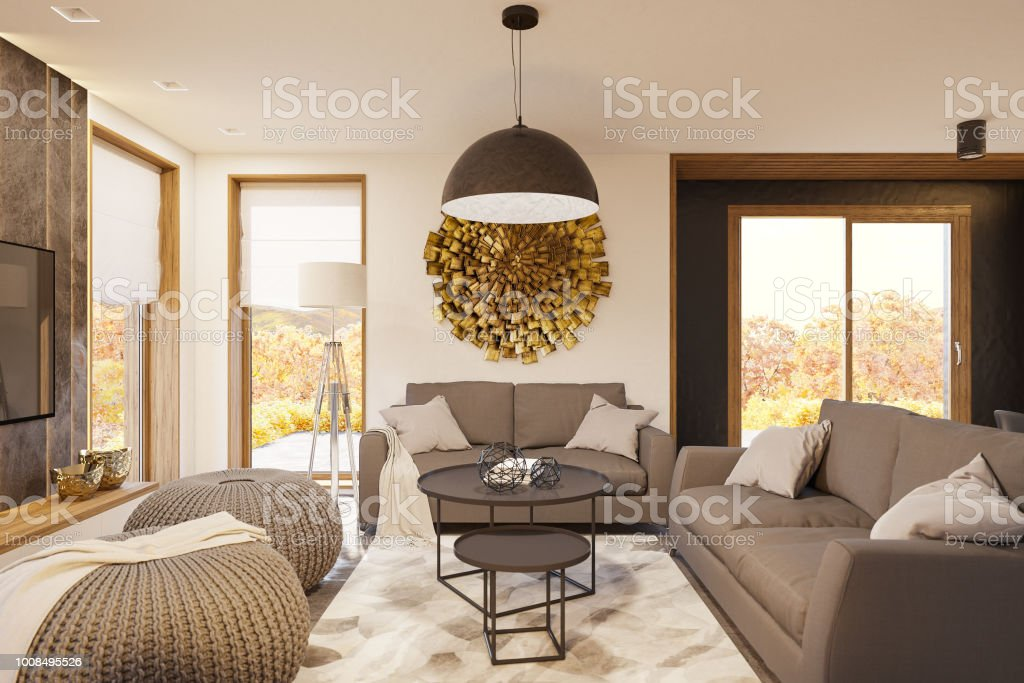 3d Render Modern Living Room Interior Design With Big Panoramic