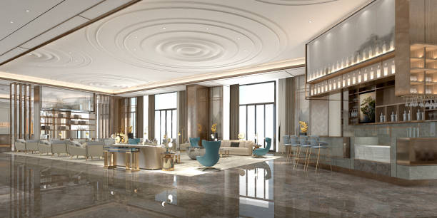 3d render modern luxury hotel lobby 3d render modern luxury hotel lobby checkout stock pictures, royalty-free photos & images