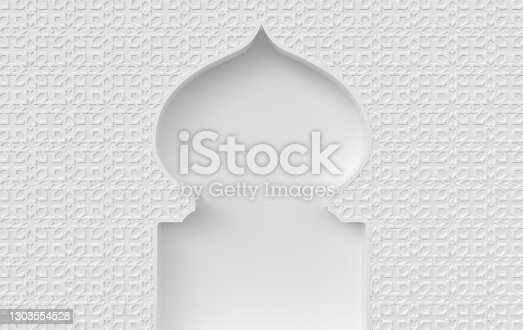 3d render mosque element in intricate arabic, Islamic architecture style. Ramadan Kareem is the name of the glorious month of Ramadan. Muslim community festival.