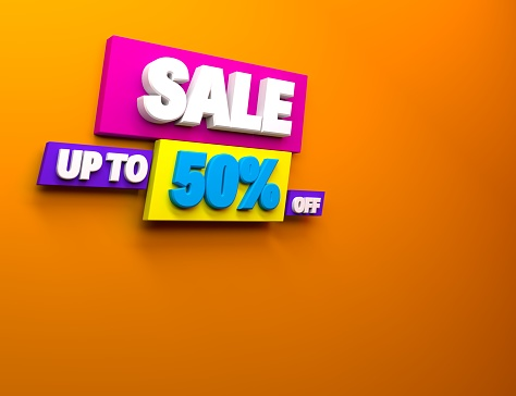 3d render multicolor discount 50 percent off and sale. 3d illustration for promotion discount sale advertising.