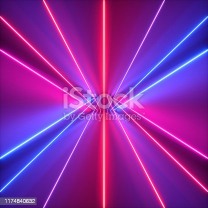 905332472istockphoto 3d render, neon abstract background, red blue violet glowing lines, ultraviolet light, laser rays 1174840632