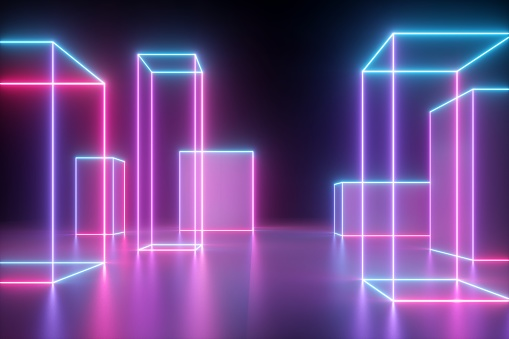3d render, neon abstract background with glowing cubic shapes, isolated on black, cyber city in virtual reality, laser show