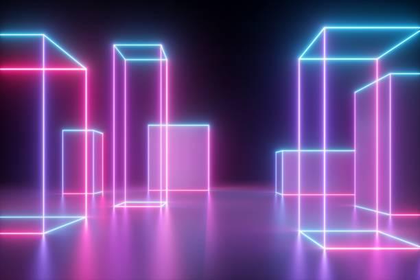 3d-render, neon abstrakte hintergrund mit glühenden kubischen formen, isoliert auf schwarz, cyber-stadt in virtueller realität, laser-show - fliegengittertüre stock-fotos und bilder