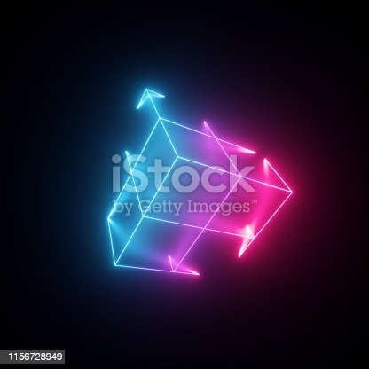 1149518720 istock photo 3d render, neon abstract background with glowing lines, isolated cube, cyber shape in virtual reality, laser show 1156728949