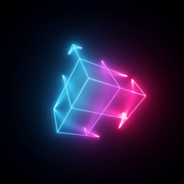 3d-render, neon-abstrakter hintergrund mit leuchtenden linien, isolierter würfel, cyber-form in virtueller realität, laser-show - fliegengittertüre stock-fotos und bilder