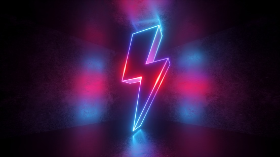 3d render, neon light abstract background, glowing thunderbolt, electricity power symbol, lightning sign