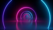 3d render, neon light abstract background, round portal, rings, circles, virtual reality, ultraviolet spectrum, laser show, fashion podium, stage, floor reflection