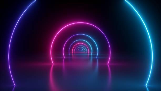 render 3d, neonowe światło abstrakcyjne tło, okrągły portal, pierścienie, kręgi, wirtualna rzeczywistość, spektrum ultrafioletowe, pokaz laserowy, podium mody, scena, odbicie podłogi - neon zdjęcia i obrazy z banku zdjęć