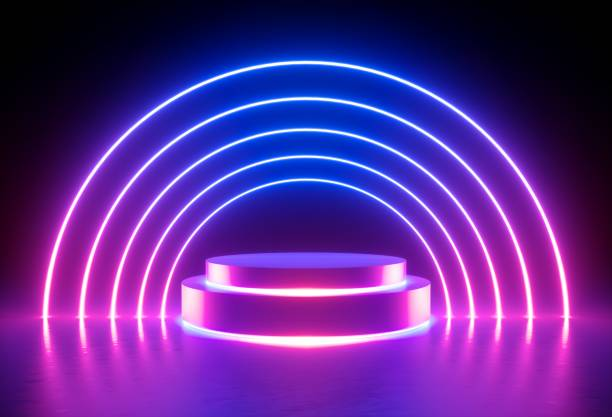 3d render, neon light, glowing lines, ultraviolet, stage, portal, round arch, pedestal, virtual reality, abstract background, round portal, arch, red blue spectrum, vibrant colors, laser show stock photo