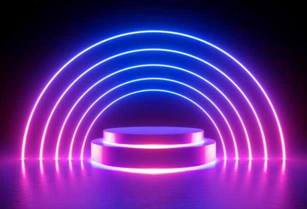 3d 렌더링, 네온 빛, 빛나는 선, 자외선, 무대, 포털, 둥근 아치, 받침대, 가상 현실, 추상 배경, 포털, 아치, 레드 블루 스펙트럼, 생생한 색상, 라운드 레이저 쇼 - 자외선 차단 뉴스 사진 이미지