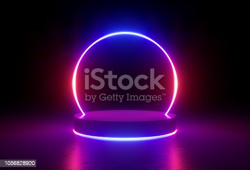 istock 3d render, neon light, glowing lines, ultraviolet, stage, portal, round arch, pedestal, virtual reality, abstract background, round portal, arch, red blue spectrum, vibrant colors, laser show 1056828920