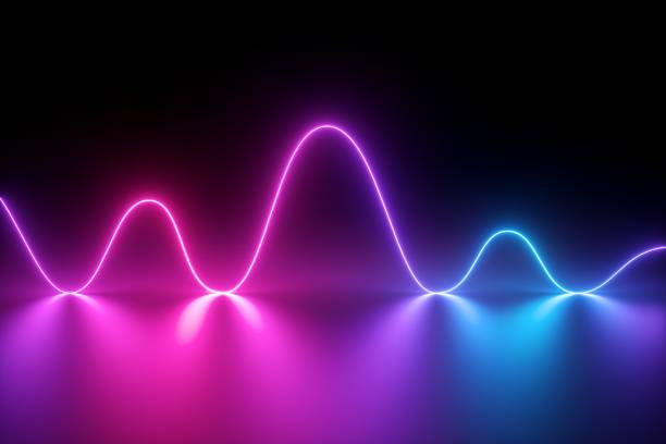 3d render, neon light, laser show, impulse, chart, ultraviolet spectrum, pulse power lines, quantum energy, pink blue violet glowing dynamic line, abstract background, reflection - wave pattern stock pictures, royalty-free photos & images
