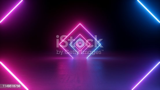 istock 3d render, neon light, rhombus, virtual reality, square esoteric portal, tunnel, corridor, ultraviolet abstract background, laser show, fashion podium, path, way, stage, road, floor reflection 1149518756