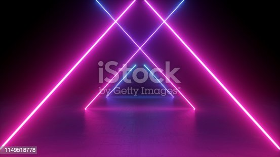 istock 3d render, neon light rods, pink and blue lines, tunnel in virtual reality, triangular corridor, ultraviolet abstract background, laser show stage, fashion catwalk podium, road 1149518778