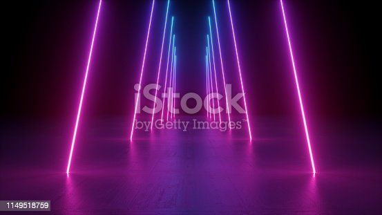 istock 3d render, neon light rods, pink and blue vertical lines, tunnel in virtual reality, corridor, ultraviolet abstract background, laser show stage, fashion catwalk podium, road, way, floor reflection 1149518759