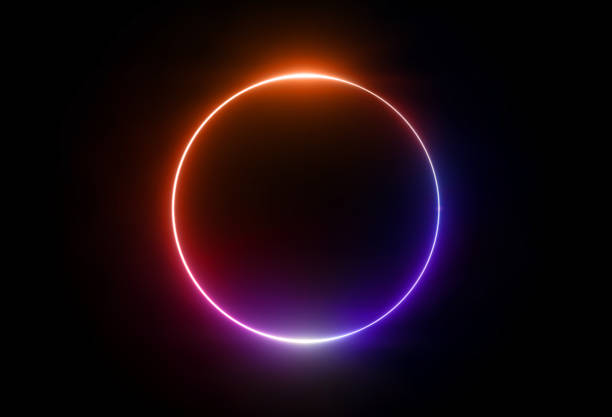 3d render, neon light, round frame, blank space for text, ultraviolet spectrum, ring symbol, halo, isolated on blank background - rozjarzony zdjęcia i obrazy z banku zdjęć
