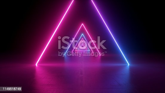 istock 3d render, neon light triangle, virtual reality, triangular esoteric portal, tunnel, corridor, ultraviolet abstract background, laser show stage, fashion catwalk podium, road, way, floor reflection 1149518749
