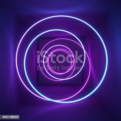 istock 3d render, neon light, tunnel, laser show, illumination, glowing wavy lines, abstract fluorescent background, optical illusion, room, corridor, night club interior 940108002