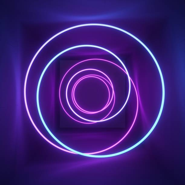 3d render, neon light, tunnel, laser show, illumination, glowing wavy lines, abstract fluorescent background, optical illusion, room, corridor, night club interior stock photo