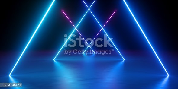 1043738824 istock photo 3d render, neon lights, abstract background, glowing lines, virtual reality, blue triangular arch, ultraviolet, infrared, spectrum vibrant colors, laser show 1043738774