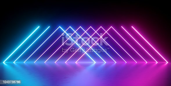 1043738824 istock photo 3d render, neon lights, abstract background, glowing lines, virtual reality, violet triangles, ultraviolet, infrared, spectrum vibrant colors, laser show 1043738786