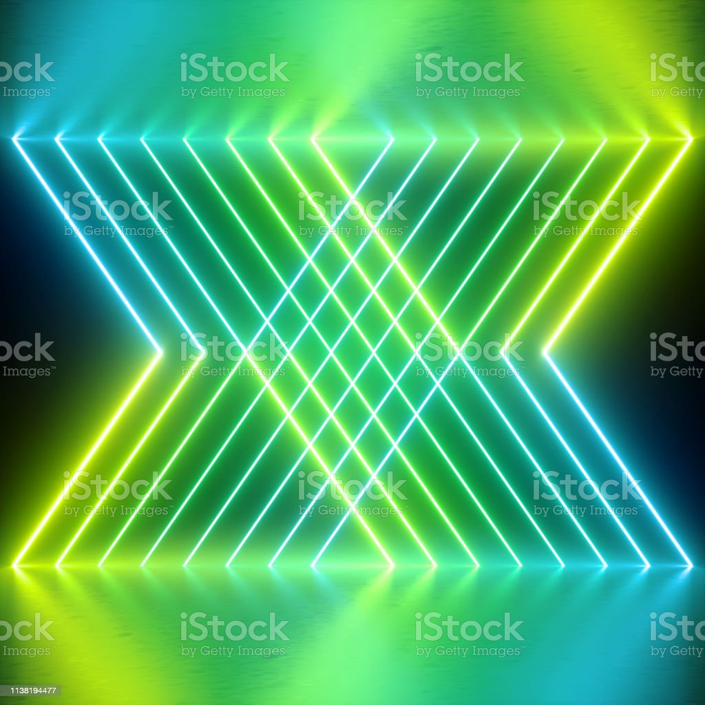 3d Render Neon Lights Abstract Background Green Glowing